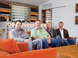 From left, Kristopher Parker, Eli Parker, Ashley Parker-Snider and Tim Snider, family of the late Disney actor turned developer Fess Parker. Fess Parker Enterprises, the family's business, owns two wineries in Los Olivos, Fess Parker's DoubleTree Resort in Santa Barbara and a small boutique hotel project currently in the planning phases. (Alex Drysdale / Business Times photo)