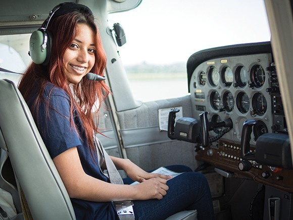 A Different Point of View student Gloria Garcia, 17, running a preflight inspection. (Nik Blaskovich / Business Times photo)
