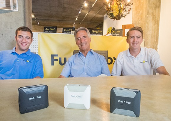 From left, Friedman, Vitamante and Herr. Score helped FuelBox move from idea to marketable product. Earlier this month, the company raised $70,000 through crowdfunding website Indiegogo. (Nik Blaskovich / Business Times photo)