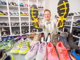 Heeluxe founder and CEO Geoffrey Gray at the company's Goleta headquarters. With a state-of-the-art shoe lab, the company is helping brands such as Teva, New Balance and Hoka perfect the fit and performance of their shoes. (Nik Blaskovich / Business Times photo)