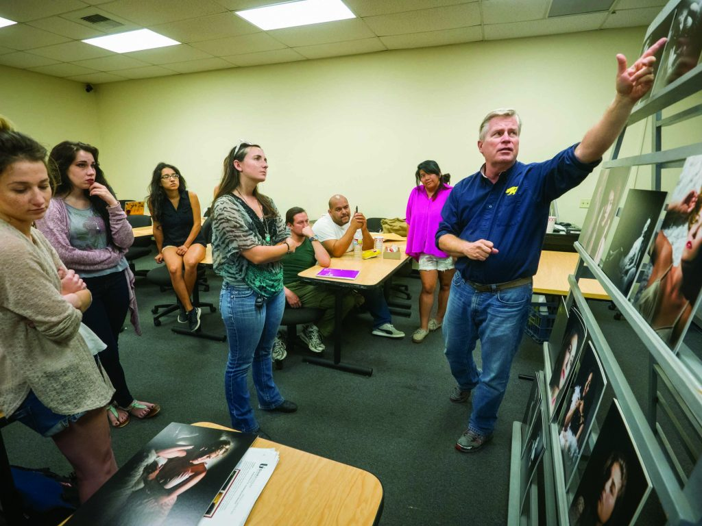 "Tim Meyer critiques student work in his ""Lighting People"" class at Brooks Institute in Ventura."