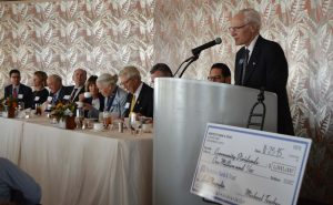 Michael Towbes announces Montecito Bank & Trust's award of $1 million to local groups.