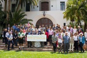 Authors and supporters of the Santa Barbara County Food Action Plan gathered at the Santa Barbara Courthouse's Sunken Gardens on May 24. (Alex Kacik)