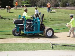 Workers make renovations to the Montecito Country Club golf course, which was redesigned by Jack Nicklaus.