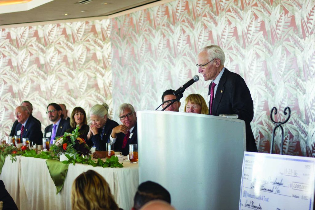 Montecito Bank & Trust Chairman Michael Towbes speaks at the Community Dividends event on Nov. 21.